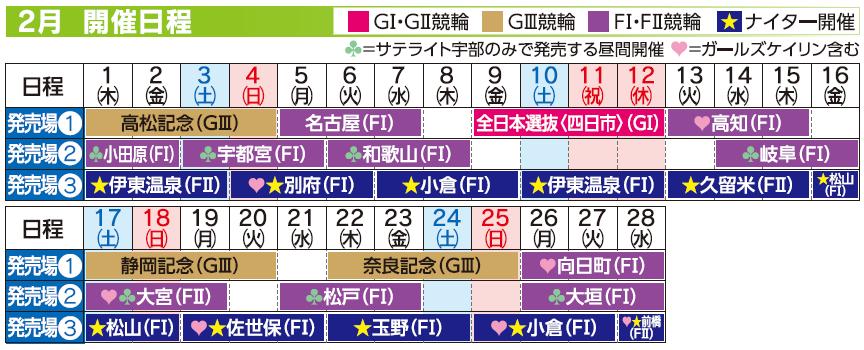 レーススケジュール2018年2月