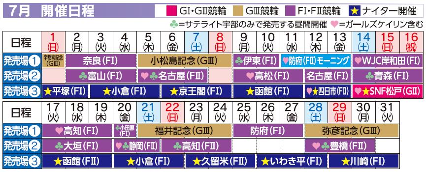 レーススケジュール2018年7月