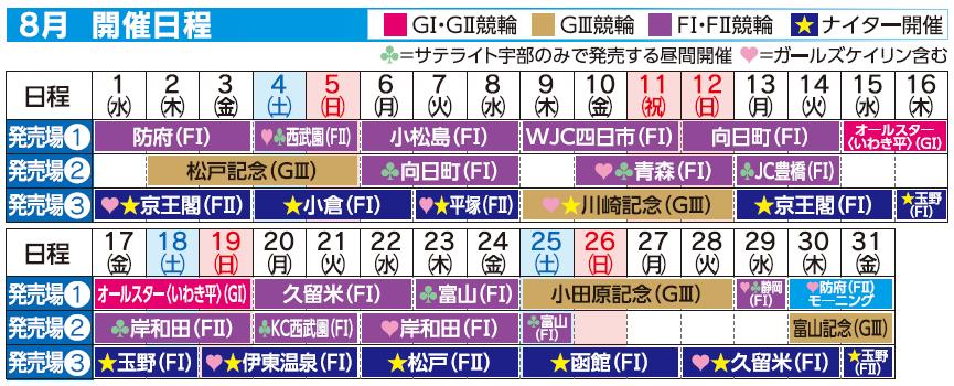 レーススケジュール2018年8月