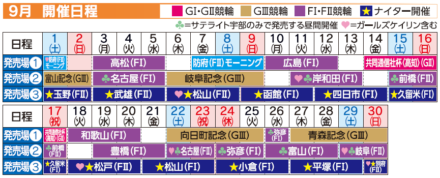レーススケジュール2018年9月