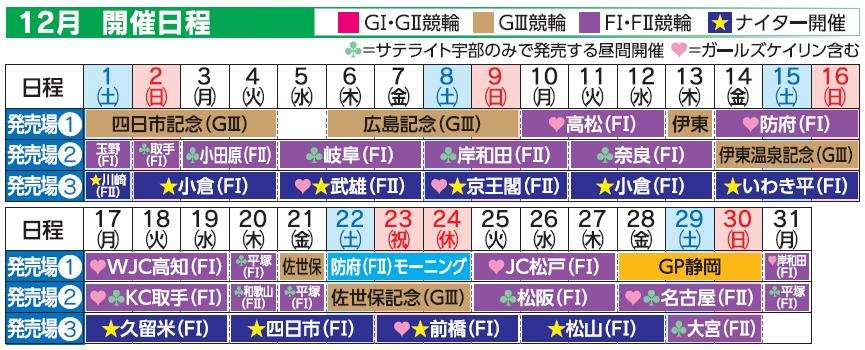 レーススケジュール2018年12月