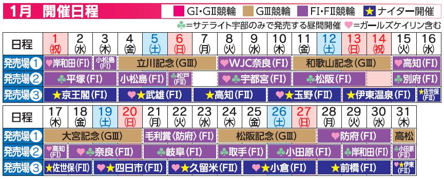 レーススケジュール2019年1月