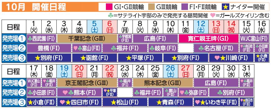 レーススケジュール2019年10月