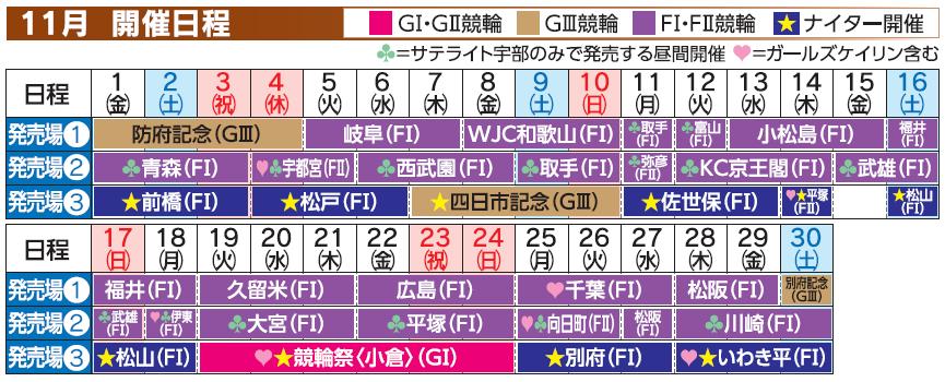 レーススケジュール2019年11月