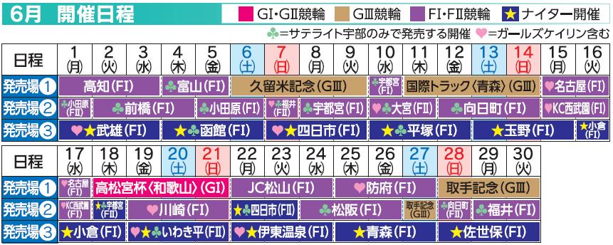 レーススケジュール2020年6月