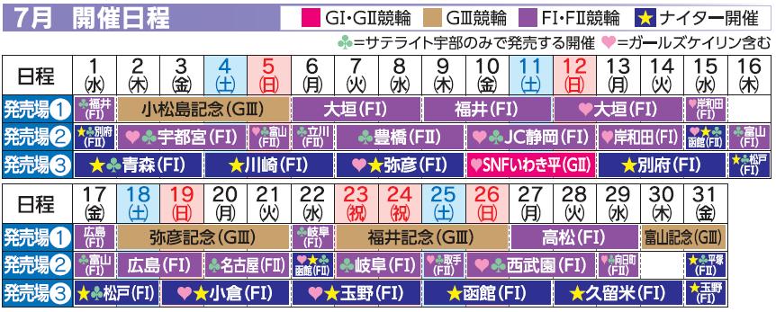 レーススケジュール2020年7月