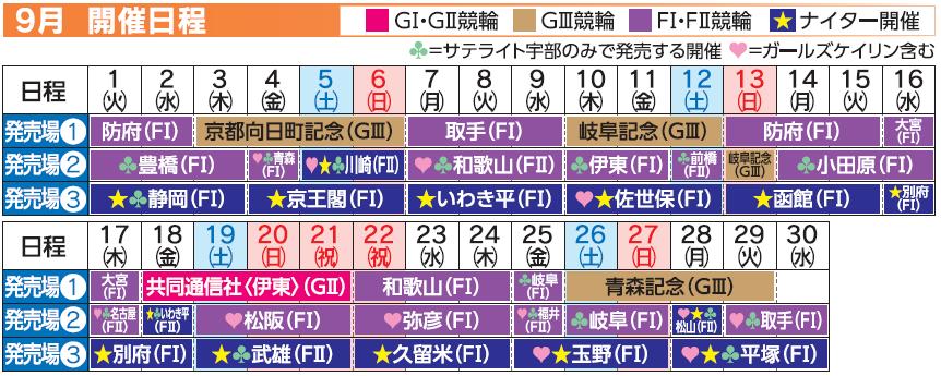 レーススケジュール2020年9月