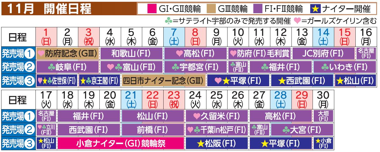 レーススケジュール2020年11月