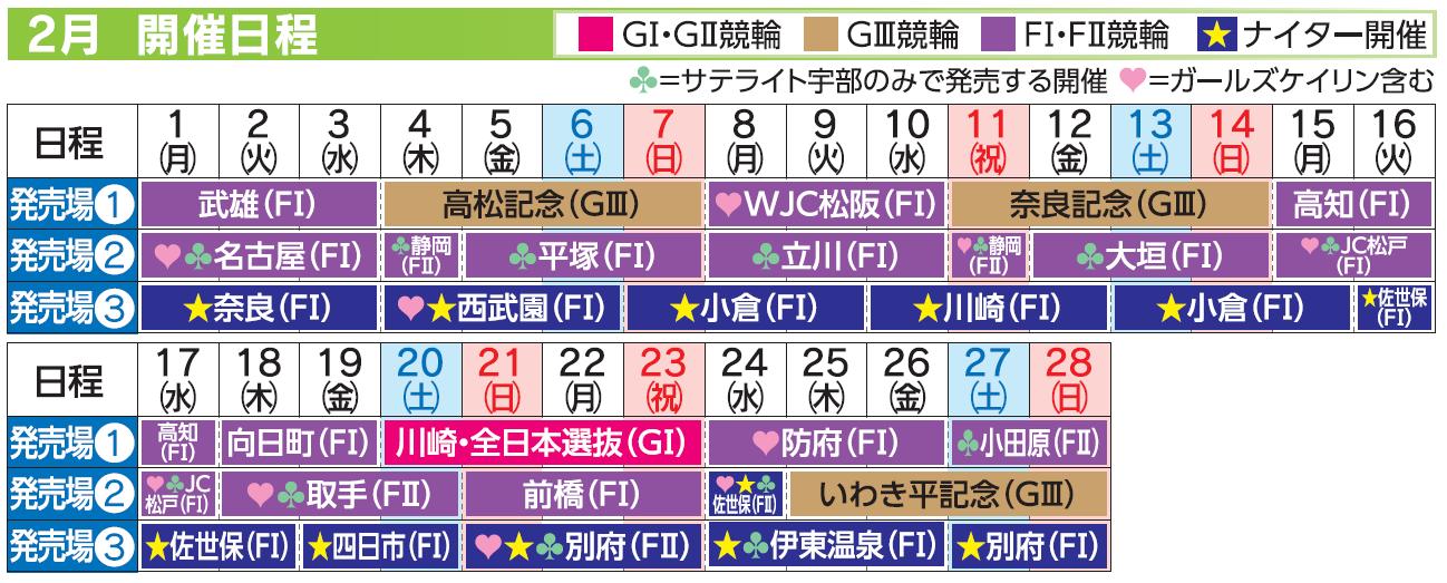 レーススケジュール2021年2月